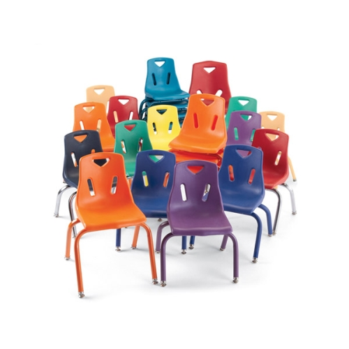 ... Berries Plastic Stacking Chairs W/ Chrome Plated Legs Orange