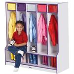 Jonti-Craft Rainbow Accents Coat Lockers w/Step - 5 Sections 0468JCWW