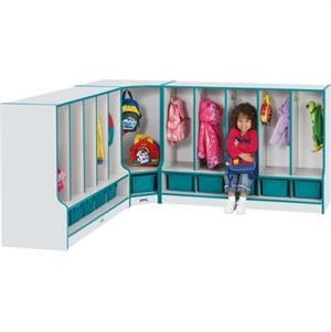 Jonti-Craft Rainbow Accents Toddler Corner Coat Locker w/Step - 6682JCWW